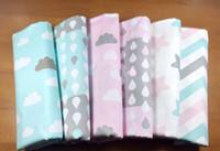 Venta al por mayor 100 * 160 cm de lluvia y nube de impresión de tela de algodón trimestre de paquete Telas DIY muñeca de remiendo de edredón de bebé de costura de ropa de cama Tecido