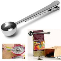 Wholesale 2017 Hot Sale Household Creative Supplies Stainless Steel Coffee Spoon with Bag Seal Clip Multipurpose Kitchen Spoon