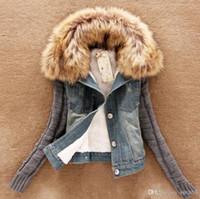 Wholesale 2016 Women Jackets Winter Coat Detachable Fur Collar Knit Wool Sleeve Denim Cotton Short Thick Coat Jacket puls S XXXL