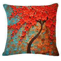Wholesale Tree of Life home printed Cushion Cover Comfortable linen Cushion Cover Patterned Durable sofa Pillow Cover for couches car home decorative