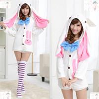 adult bunny pajamas - Anime Vocaloids V Miku Hatsune Bunny Rabbit Ear Pajamas Anime Cosplay Costume Adult Onesie Sleepwear Dress