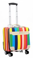 Wholesale 3 colors rainbow Leather PU Business Travel Suitcase Trolley Travel Bag On Wheels Boarding Luggage Tote Backpack