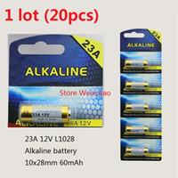 Wholesale 20pcs A V A12V V23A L1028 dry alkaline battery Volt Batteries card