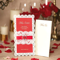Wholesale Laser Cut Flower wedding invitations Cards Diamante Personalized Lace Ribbon Hollow Wedding Party Printable Invitations with Envelope Sealed