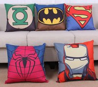 america sofa - Superhero Avengers Pillow Case America Captain Superman Spiderman Home Sofa Cushion Cover Car Decoration Batman Throwpillow Cases DHL