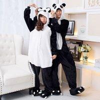 Wholesale 2017 New Pajamas Panda Onesies for Adults Sleep Costums Pajamas Panda Sleepwear Flannel Animal Pajamas One Pieces Sleeping Costums Cosplay