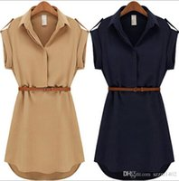 Night Out & Club beach girls with out dress - With Belt Women Summer Dress Shirt V Neck Short A Line Girl Shirt Dress Plus Size Chiffon Casual Vestidos For Party Beach Office DRW05