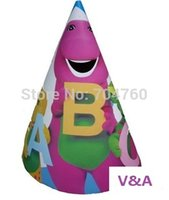barney supplies - Lovely Cartoon Dinosaur Barney Friends Birthday Party Cap Event Party Hat Mask Supplies