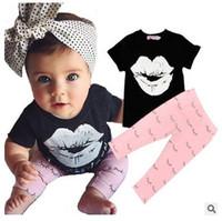 al por mayor camisas de las muchachas labios-La ropa del INS de los cabritos fija la ropa del verano de los pantalones de los muchachos de las muchachas de los trajes ocasionales infantiles de los juegos de la manera del bebé +