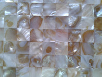 Wholesale mesh mounted Seamless Square Mother of Pearl Shell MOP Mosaic Tiles for Kitchen or Bathroom Backsplash chip size mm