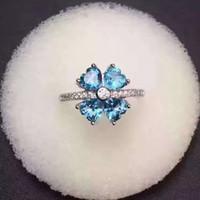 Anneau de fleur mignonne pour fille 4 pcs topaze bleue naturelle réel 925 anneau de coeur en argent sterling topaze bague en argent pour cadeau d'anniversaire