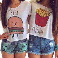 best fried - Cute Shirt Summer Best Friends T shirt Women Hamburger French fries Printed Short Sleeve t shirt women Lovely Women Tops