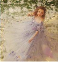 aesthetics art - Aesthetic style of art female wind palace light purple petals big tail wedding photo studio theme photo clothing wedding dress