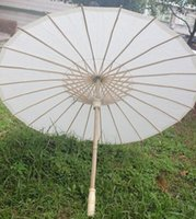 Wholesale New Eco friendly Bamboo With Paper White Color Long handle Bridal Wedding Umbrellas LLFA