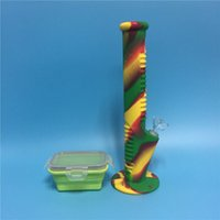 Wholesale New Arrival Rasta color Silicone bong with Silicone Container for Smoking Dry Herb