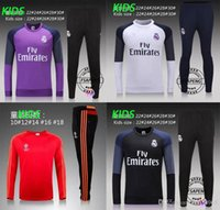 Wholesale 2016 new real Madrid round collar united training suit for sport running autumn clothing KIDS Manchester football training