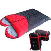 Wholesale Double Sleeping Bag Ultralight kg Outdoor Camping Sleeping Bag Adult Cotton Liner Warm Soft Autumn Envelope Sleep Bags Spring