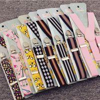 Wholesale Fashion Cute Cartoon Boys Girls Adjustable Multi Colors Unisex Adjustable Pants Y back Clip on Suspender Brace Belt
