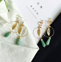 Wholesale Hige quality original Leaf Beryl Water drop ear clip ear hook Dangle Earring Chinese style fashion beautiful jewelry gift free shipment