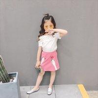 Precio de Faldas para las muchachas de los niños-Everweekend 2017 Girls Lace Hollow Tees y Faldas de color rosa 2pcs Sets Outfits Occidental Moda Niños Ropa al por mayor