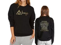 animals title - Always Front and Harry Potter Book Titles Back Sweatshirt Fashion Gold Color Print Crew Neck Hoodies Women Black Pullover