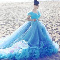 Wholesale Cinderella Light Blue Wedding Dresses Cheap Crystal Ball Gown Off Shoulder Beads Court Train Bridal Dress