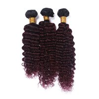 El pelo brasileño de la Virgen de la virgen rizada rizada Kinky # 1B / 99j del pelo de Remy de la Virgen riega la extensión rizada del pelo de 3Pcs / Lot Ombre