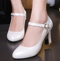 Wholesale New bride shoes chunky heels Joining together sequins shoes round head high heel wedding shoes sexy prom evening party shoesshuoshuo6588