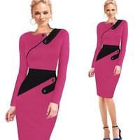 Black Dress Tunic Mulheres Trabalho Formal Office Sheath Patchwork Linha assimétrica Pescoço Joelho Comprimento Plus Size Pencil Dress
