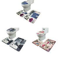 Cotton bath rug set blue - SP Mosunx Business Hot Selling set Bathroom Non Slip Blue Ocean Style Pedestal Rug Lid Toilet Cover Bath Mat