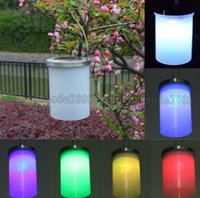 Wholesale LED Sloar Light Solar Power Hanging Cylinder Lanterns Outdoor Stainless Steel Solar Lights Outdoor Garden Light Night Llight Waterproof MYY