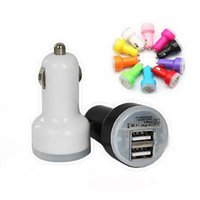 Wholesale 2100mA dual usb car charger usb port car charger mini style charge ipad iphone samsung mobile device exzatly A even can charge table pc