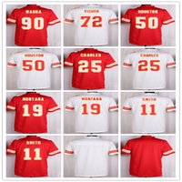 Venta al por mayor 11 <b>Alex Smith</b> Jersey 19 Jeremy Maclin 25 Jamaal Charles Jerseys Rojo Blanco Uniformes 29 Eric Berry 50 Justin Houston 72 Eric Fisher
