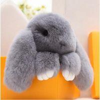 Wholesale Rabbit Fur Doll Handmade Bunny cartton key chain for Women wallet Handbag Bag or Car Pendant key ring Pom Pom Keychain