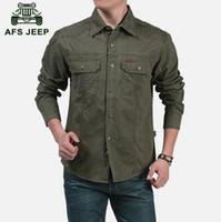 Wholesale AFS JEEP M XL Spring military quality men s casual brand army green shirts man autumn cotton khaki black long shirt