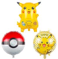 Wholesale New Cartoon Poke Pikachu Balloons cm cm Poke Ball Balloon Kids Birthday Wedding Party Decoration Children Gift PPA273