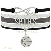 basketball team gifts - Custom Infinity Love Christmas Gifts Bracelet Gray Light Gray Men Leather Custom Team Bracelet Sport Spurs Basketball Charm Bracelets