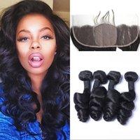 Wholesale Silk Base Frontal with Bundles Indian Virgin Hair Loose Wave Natural Color A Human Hair No Tangle
