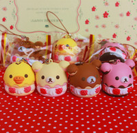 al por mayor squishies por mayor-El queeze blando de la torta del soplo de Rilakkuma del kawaii original al por mayor de los 5cm juega el envío libre de los squishies de las correas del encanto de los bolsos del teléfono celular