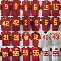 Wholesale cheap Troy Polamalu Reggie Bush JuJu Smit Uchenna Nwosu Michael Bowman Junior Seau USC Trojans men College Football Jersey