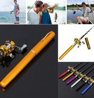 Wholesale Portable Telescopic Aluminum Alloy Mini Pocket Fish Pen Fishing Rod Pole Reel Pen Shape Fishing Rod With Reel Wheel KKA1225