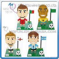 beckham toy - DHL Mini Qute Wise Hawk football player Messi Beckham Ronaldo plastic building block model Action Figures educational toy