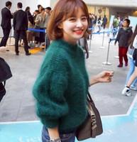 al por mayor visón mosaico-Rusia Corea invierno nueva moda casual mujeres rojo verde knitt suéter caliente Mink Cashmere remiendo de color sólido suéter pulóveres