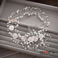 Wholesale Gorgeous hair comb floral headband women pearl jewelry hairband soft chain hair ornaments bridal tiara wedding accessories yunyu