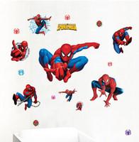 PVC american showcase - Spider man Wall Stickers Boy Bedroom Home Decal Kids window showcase mural adesivo de parede Bedroom Nursery