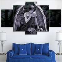 More Panel angels art prints - 5 Pieces Canvas Art Painting Fantasy Girl Angel Wall Picture For Drawing Room Home Decoration Frameless Drop Shipping