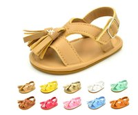 Precio de Sandalias baratas recién nacidos-Sandalias descalzas 2017 de la piel de la PU de la borla sandalias descalzas de la playa del verano de la princesa recién nacida niños baratos de la escuela de los niños L145