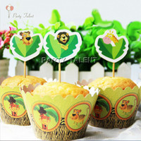 Wholesale Wrappers Toppers for Kids Birthday Party Jungle Animal Theme Cupcake Decoration