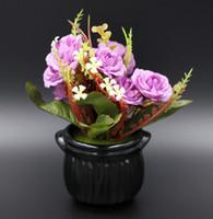 artificial bonsai supplies - Plastic Artificial Flowers Crafts Ceramic pots bonsai Home Interior Decoration Festive Supplies