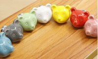 Wholesale 2017 hot sales ceramics door handle color animal sweet style cartoon handleknob for shoe wardrobe and drawer